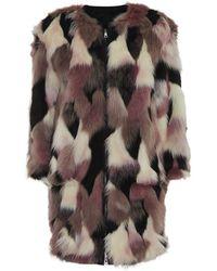 Nina Ricci Reversible Faux Fur Coat - Lyst