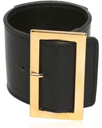 Versus Lion Leather Cuff Bracelet - Black