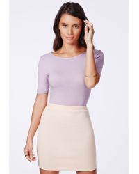 Missguided Kinetra Lilac Value Open Back Bodysuit - Lyst