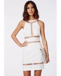 Missguided Irina Mesh Insert Bodycon Dress White - Lyst