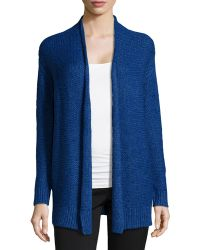 Halston Heritage Chain Knit Open-Front Cardigan blue - Lyst