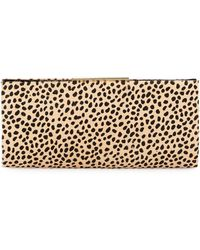 Badgley Mischka Joyce Leopard-print Calf-hair Evening Clutch Bag - Multicolor