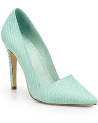 Alice + Olivia Dina Snake-embossed Leather Pumps - Lyst