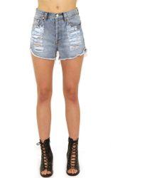 MINKPINK Slasher Flick Shorts In Denim blue - Lyst