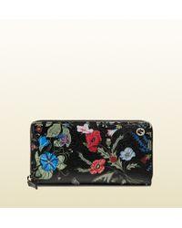 Gucci Flora Knight Print Zip Around Wallet - Lyst