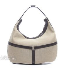 Gucci Preowned Beige Canvas Web Classic Hobo Bag - Lyst