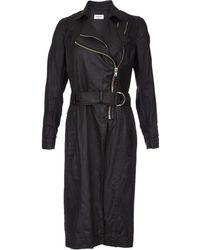 Helmut Lang Distressed Resin-Coated Trench Coat - Lyst