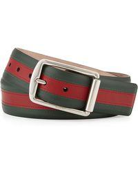 Gucci Signature Web Leather Belt - Lyst