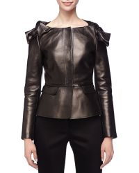 Burberry Prorsum Leather Knotshoulder Peplum Jacket Black 40
