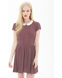 Forever 21 Dotted Peter Pan Collar Dress - Lyst