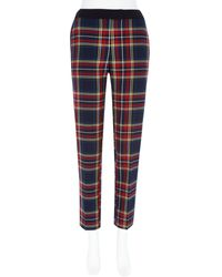 River Island Red Tartan Check Cigarette Pants - Lyst