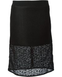 Emanuel Ungaro Lace Panel Textured Skirt - Lyst