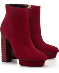Aperlai Red Suede Kate Boots - Lyst