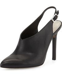 Pour La Victoire Zen Point-Toe Leather Slingback Bootie - Lyst