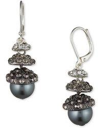 Anne Klein Grey Faux Pearl Hematite Earrings - Metallic