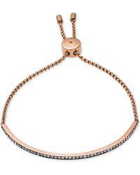 Michael Kors Rose Gold-Tone Crystal Slider Bar Bracelet - Lyst