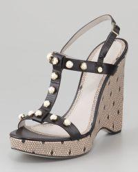 Jason Wu Jeweled Tstrap Wedge Sandal - Lyst