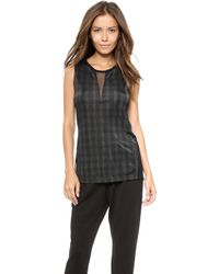 Torn By Ronny Kobo Sible Autumn Plaid Tank Greenblack - Lyst