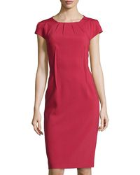 Michael Kors Crepe Pleated-neck Sheath Dress - Lyst