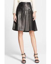 Michael Kors Plonge Leather Skirt - Lyst