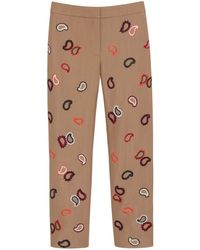 Mulberry Embroidered Ankle Length Trousers - Lyst