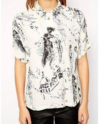 Twenty 8 Twelve Ellington Zazou Print Crepe Short Sleeve Shirt - Lyst