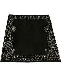 Valentino Embellished Suede Skirt - Lyst