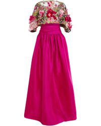 Marchesa Floral Feather Applique Ball Gown - Lyst