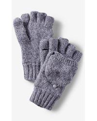 Express Wool Blend Convertible Marled Gloves - Grey