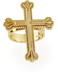 Katie Design Jewelry - Yellow Gold Crown The Cross Ring - Lyst