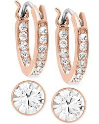 Swarovski Rose Gold-Tone Crystal Hoop And Round Stud Earring Set - Lyst