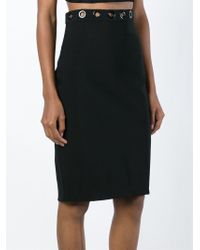 Mugler Eyelet Embellished Pencil Skirt - Black
