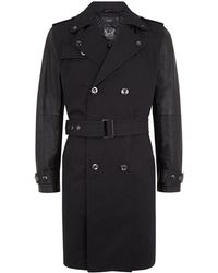 Diesel Leather Sleeve Trench Coat black - Lyst