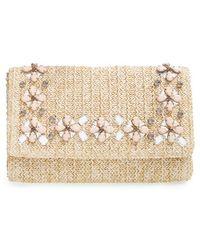 Glint Embellished Straw Clutch - Natural