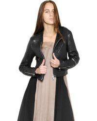Yang Li Textured Nappa Leather Moto Jacket - Lyst