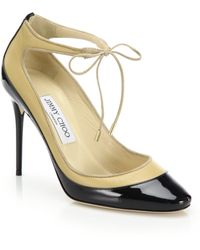 Jimmy Choo | Tyler 100 Patent & Matte Leather Ankle-tie Pumps | Lyst