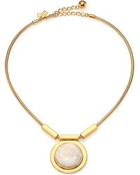 Kate Spade Polish Up Mother-Of-Pearl Pendant Necklace gold - Lyst