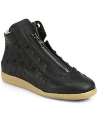 Maison Margiela Pierced Leather High-Top Sneakers - Lyst