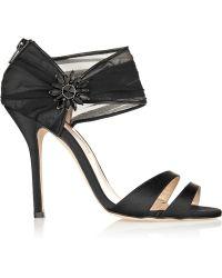 Oscar de la Renta Melissa Embellished Satin and Chiffon Sandals - Lyst
