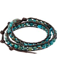 Chan Luu - 13 1/2' Compressed Turquoise/natural Dark Brown Double Wrap Bracelet - Lyst