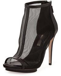 BCBGMAXAZRIA Gamma Mesh Leather Bootie Black 8b - Lyst