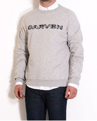 Carven Grey Cotton Sweater With Logo gray - Lyst