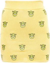 Jeremy Scott Woven Shrek Skirt yellow - Lyst