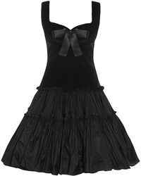 Alexander McQueen Velvet Bodice Satin Bow Dress - Lyst