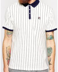 Fila Vintage Polo Shirt with All Over Stripes - Lyst