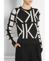 Karl Lagerfeld Estelle Kintarsia Wool and Cashmereblend Sweater - Lyst