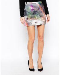 Ted Baker Scuba Mini Skirt In Rainbow Waterfall Print - Lyst