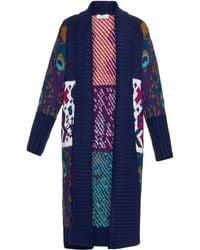 Tak.ori - Long Intarsia-knit Cardigan - Lyst