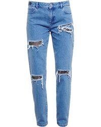 House Of Holland Distressed Jeans with Lace Details - Lyst