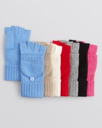 C By Bloomingdale's - Cashmere Cable Knit Pop-top Mittens - Lyst